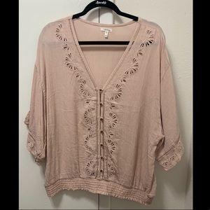 Pink crotchet top never worn